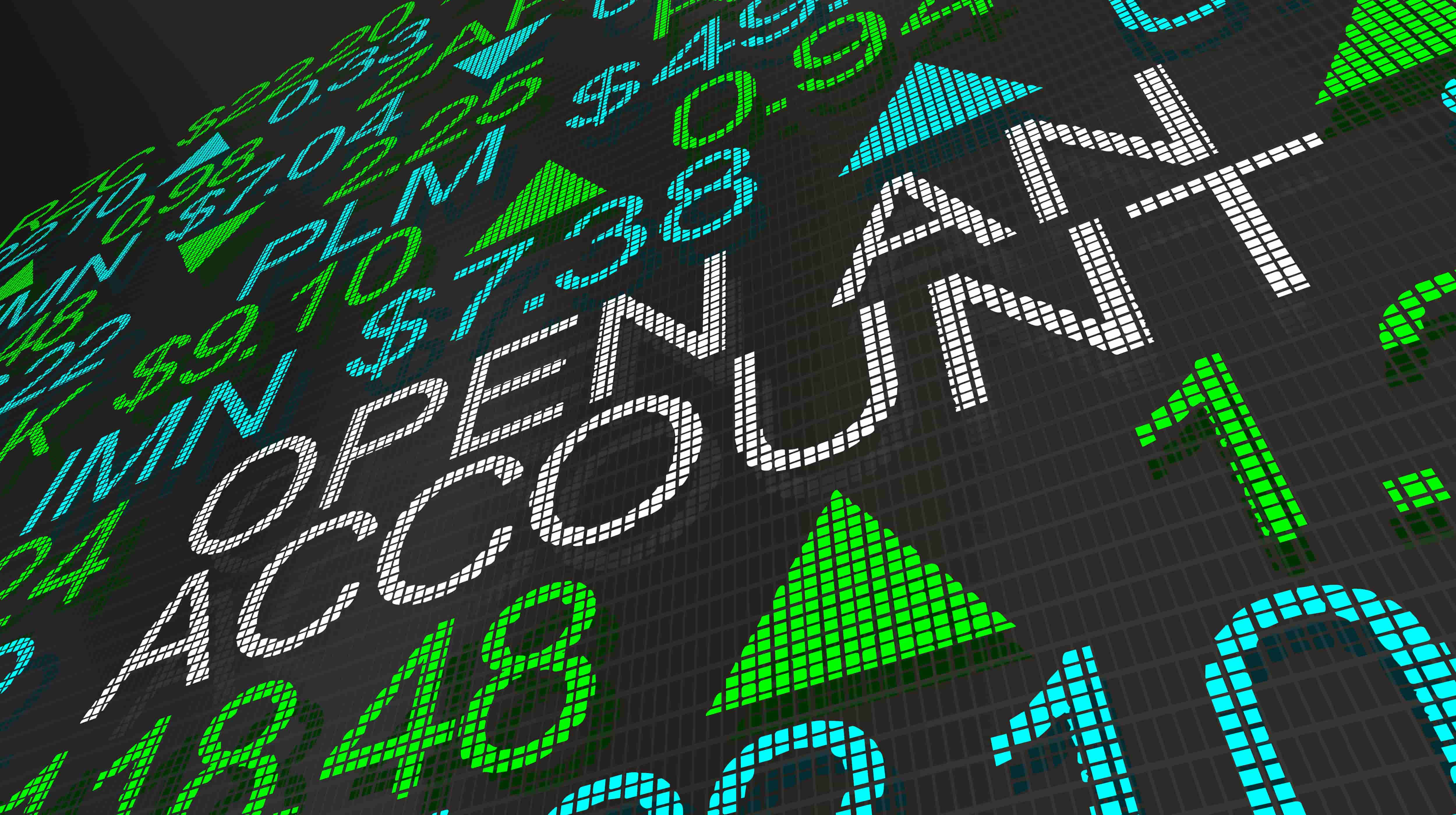 open an account text on stock market ticker Illustration