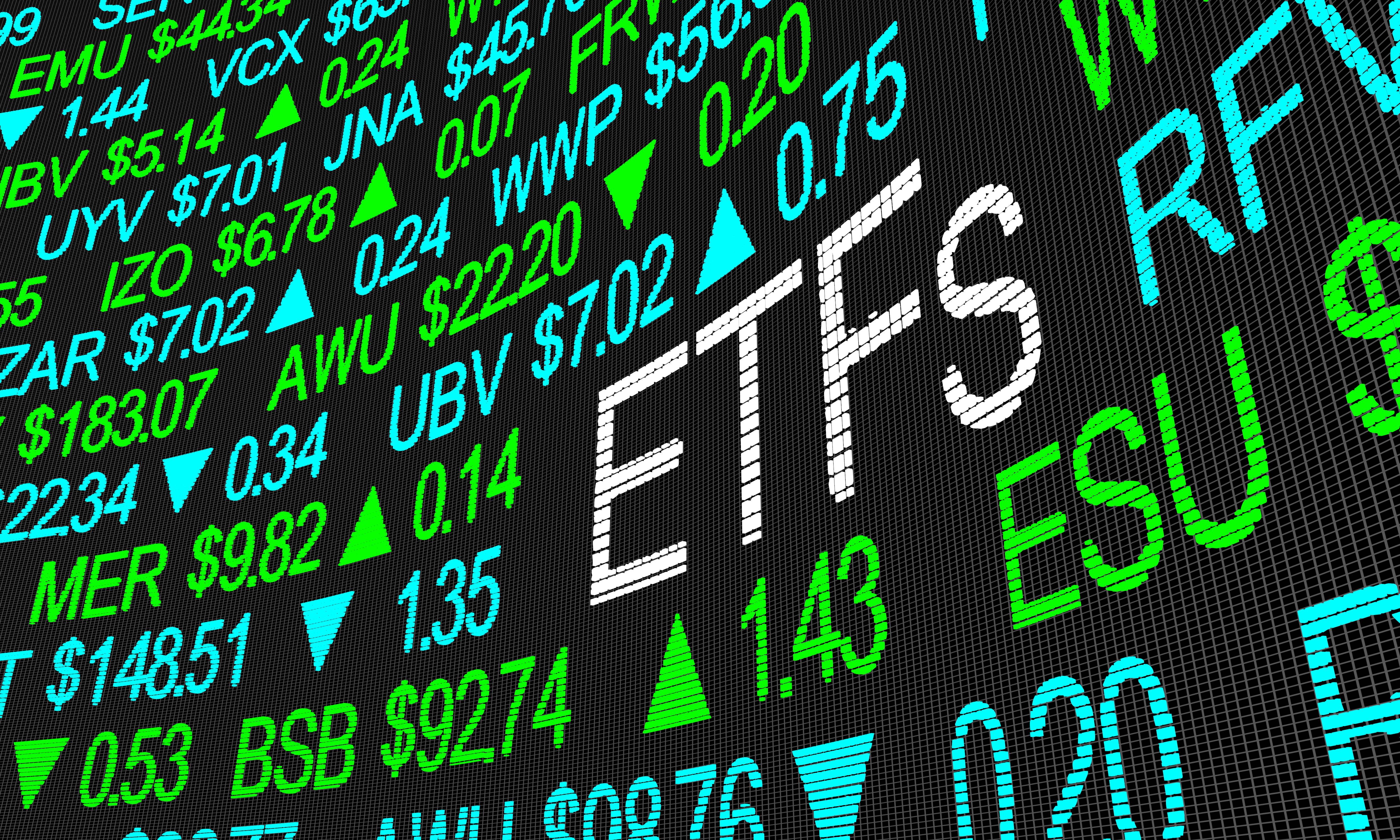 ETFs stock market board illustration