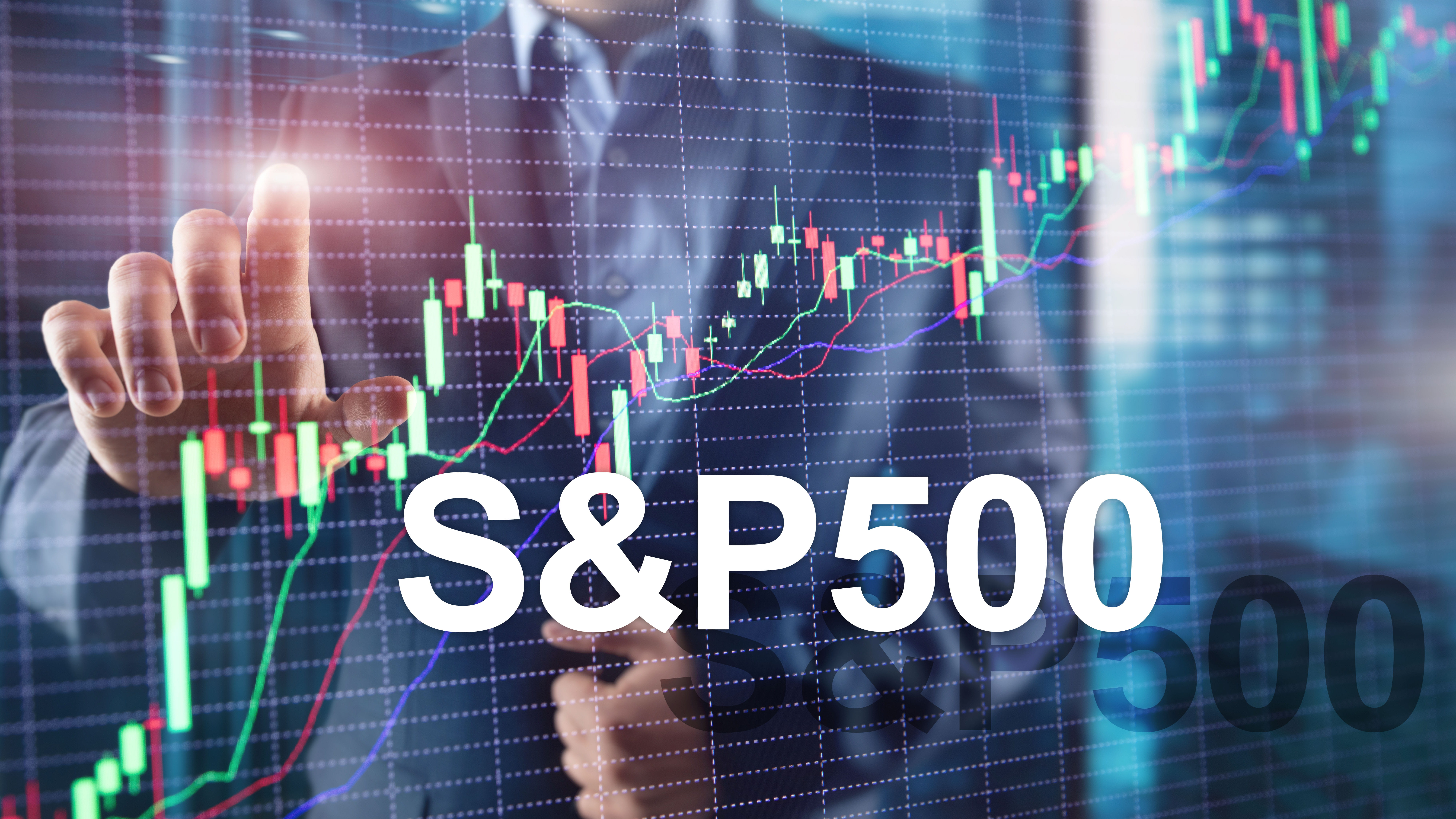 S&P 500 index chart with silhouette of business man in background pointing at chart