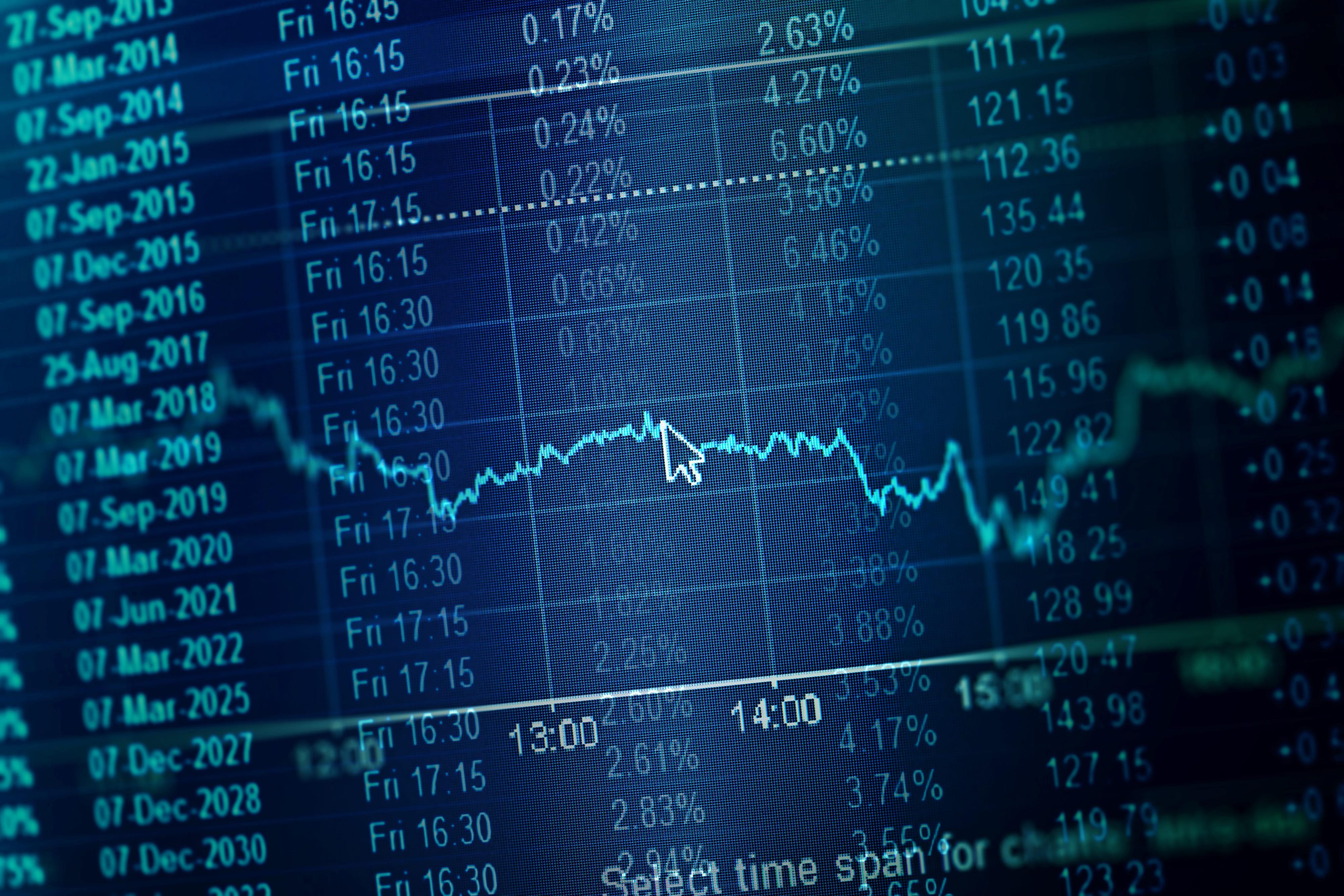 digital stock ticker chart