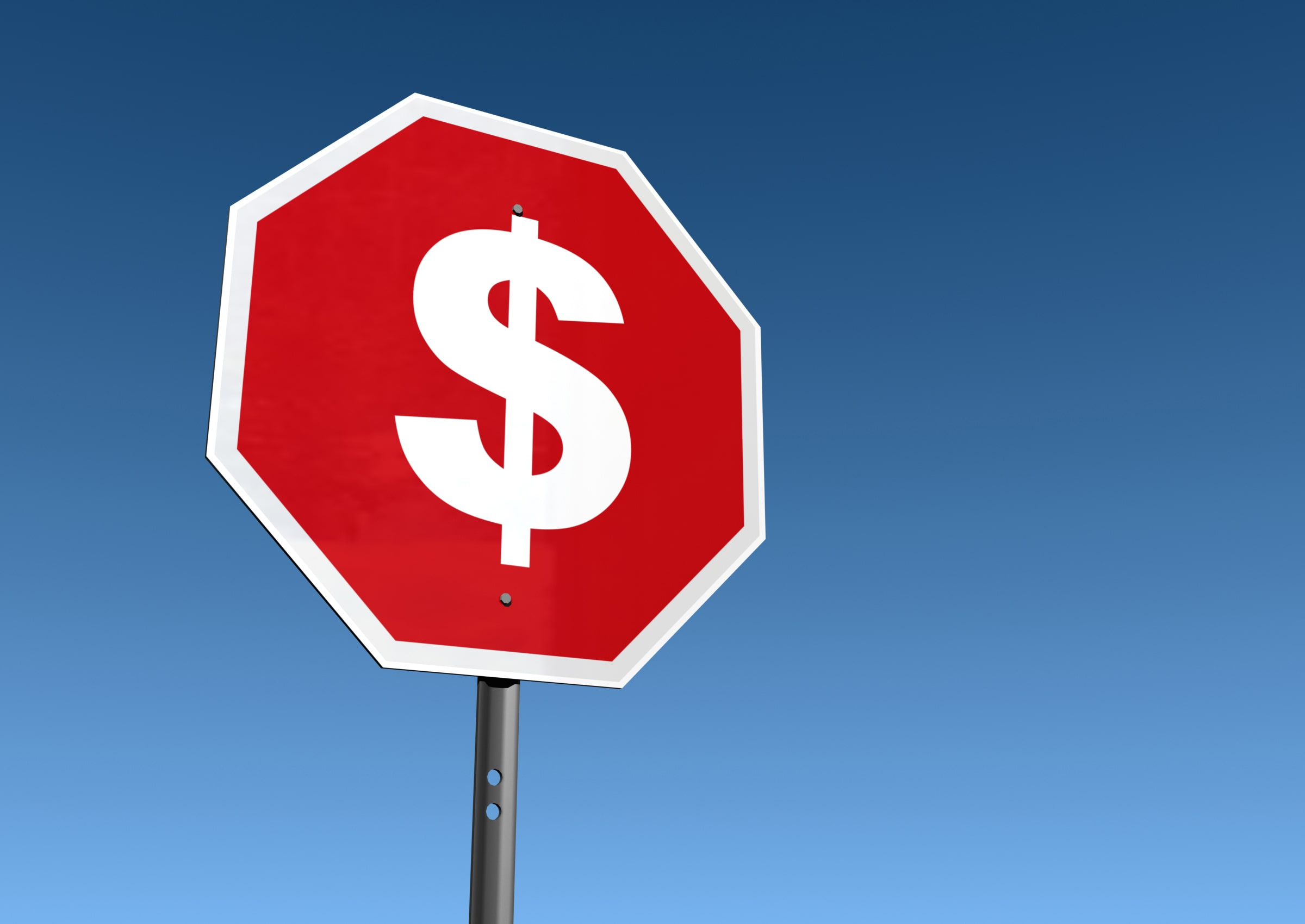 Stop sign simbolizing a buy stop order for the market