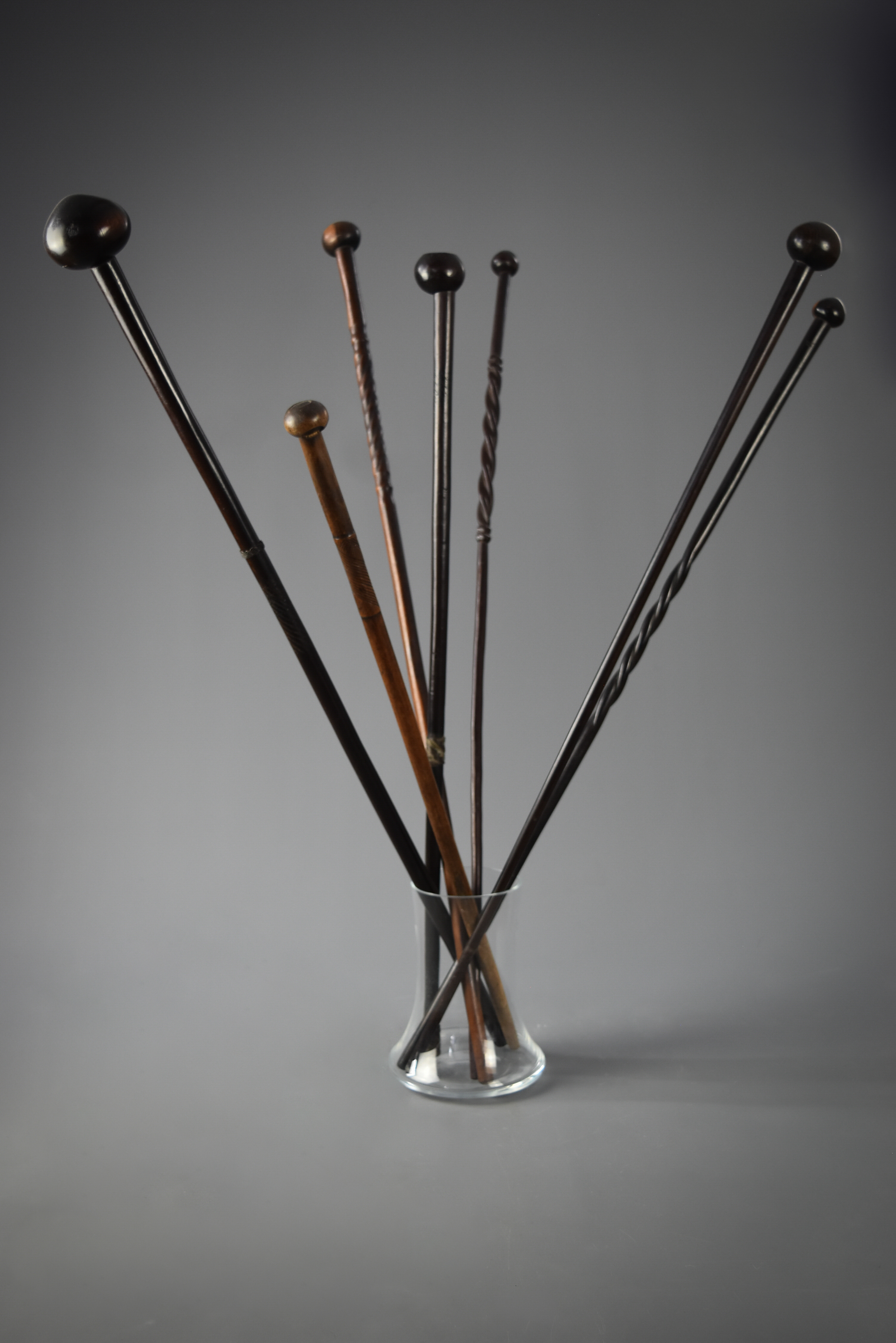 A collection of Zulu sticks and clubs