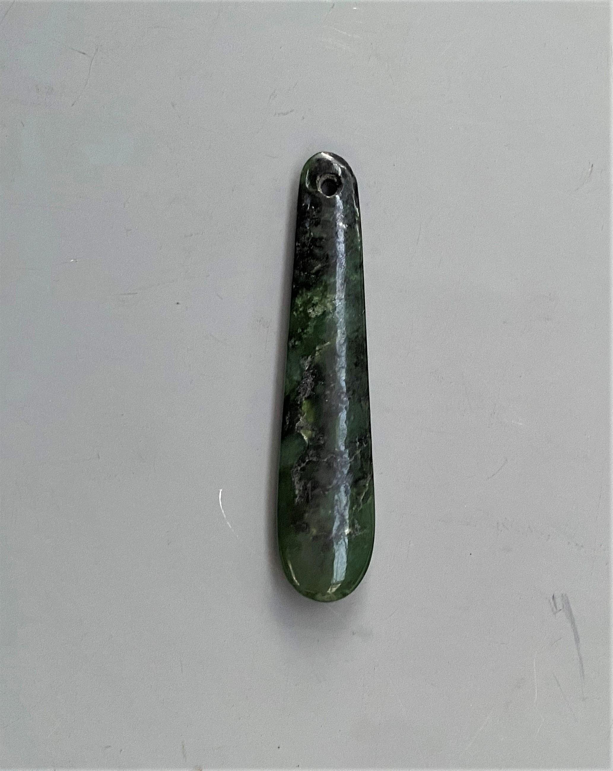 Large Maori Nephrite Ear Pendent ( Kuru )
