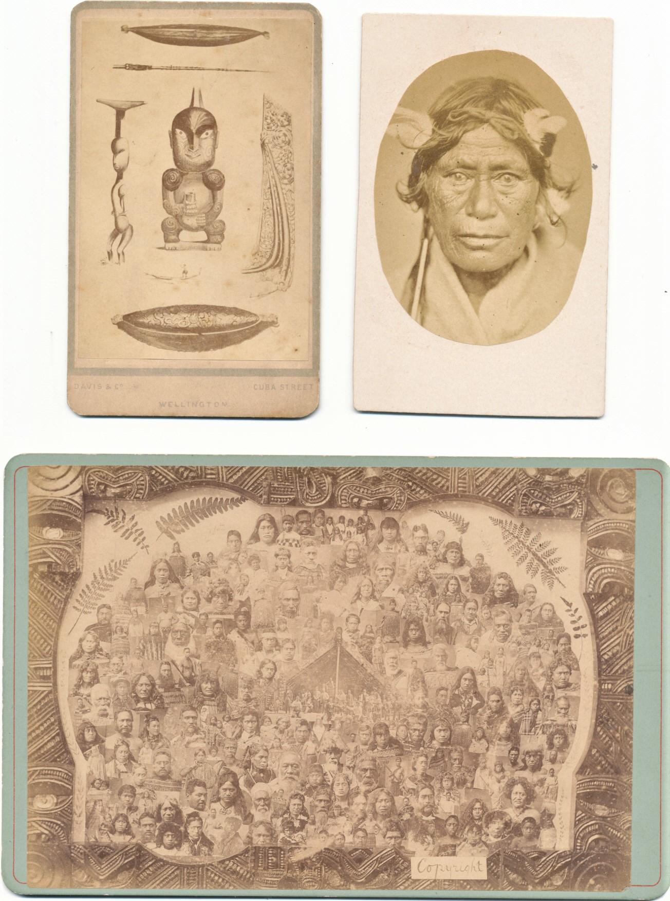 Three Photos of Maori Chief,MaoriArtifacts &Group of Maoris
