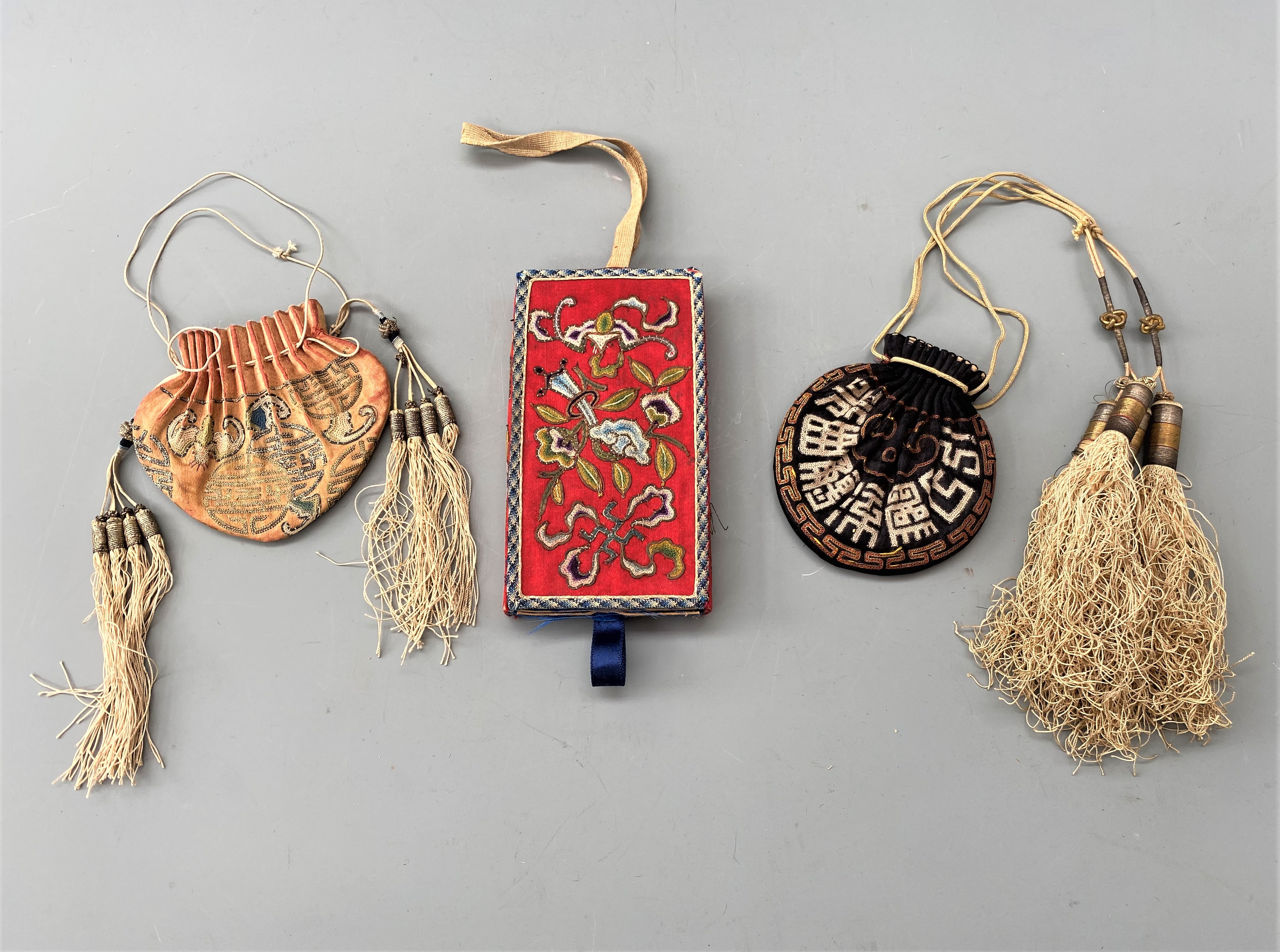 Group of Three Finest Antique Chinese Silk Embroidered Purses ( Bags )