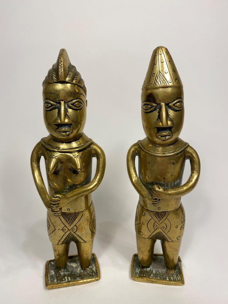 Male and Female Brass Figures