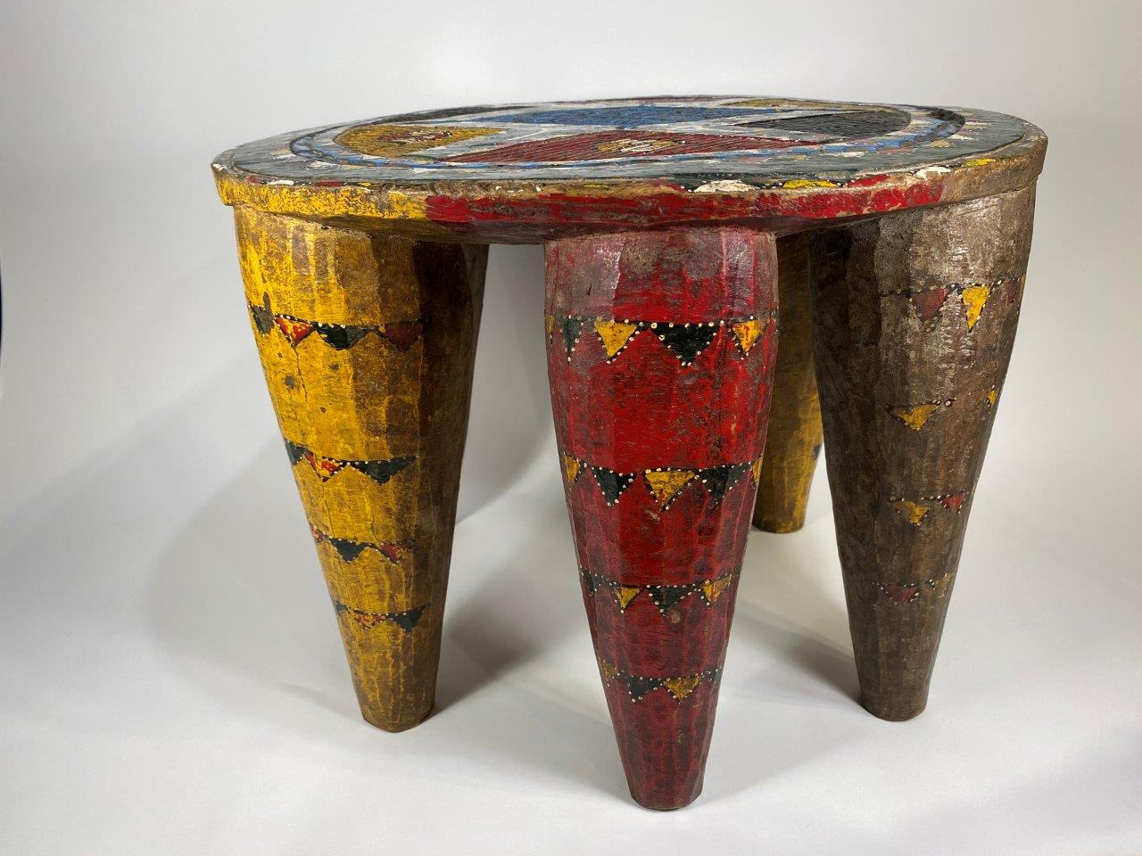 Painted Wood Marriage Stool