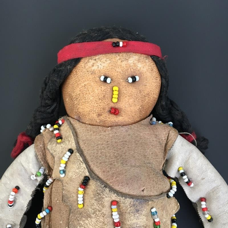 North American Indian Doll Plains Indians. Buckskin Clothing with beaded decorations