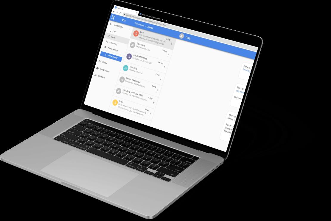 Vxt Web App on Laptop