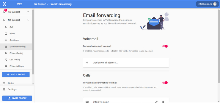 Email Forwarding with Vxt