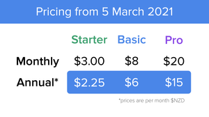 A graphic displaying new Vxt Voicemail pricing