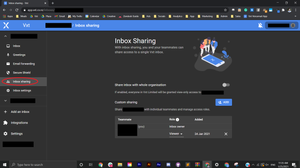 A screenshot of the Vxt Web app showing the inbox sharing tab.