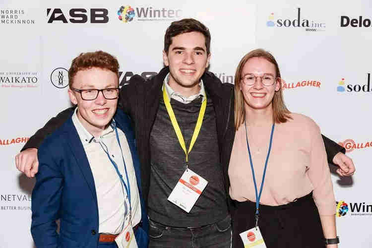 Luke Campbell and Lucy Turner from Vxt along with Alex Miller from Banqer at the 2019 NZ Startup Bootcamp.