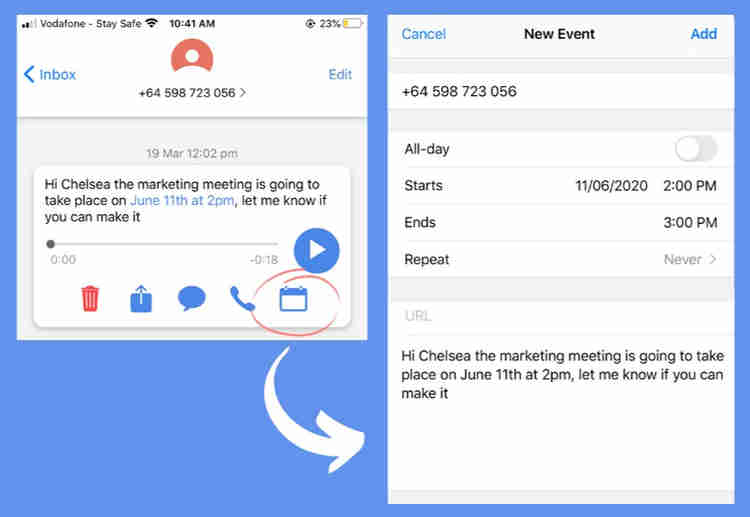 new feature of vxt visual voicemail assistant app now includes calendar suggestion, helping you manage your busy schedule more efficiently