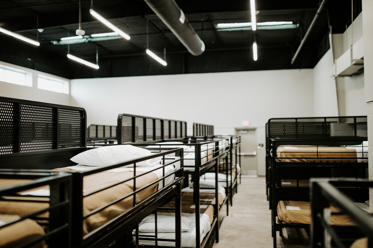 Room with bunk beds at city care shelter