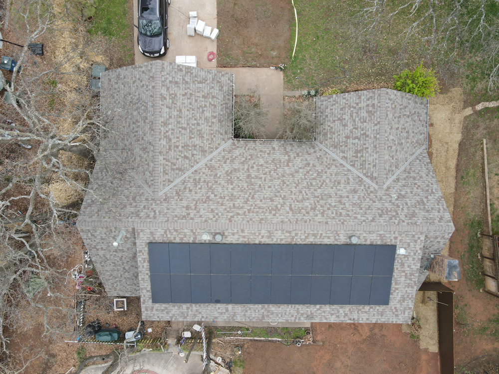 Aerial shot of home with solar panels