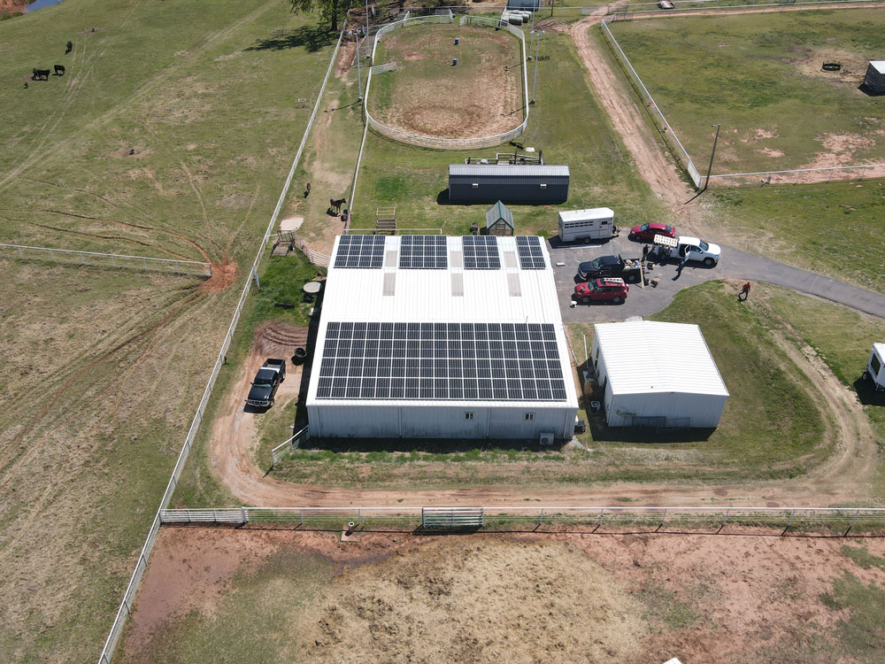 Aerial Shot of ranch with solar panels