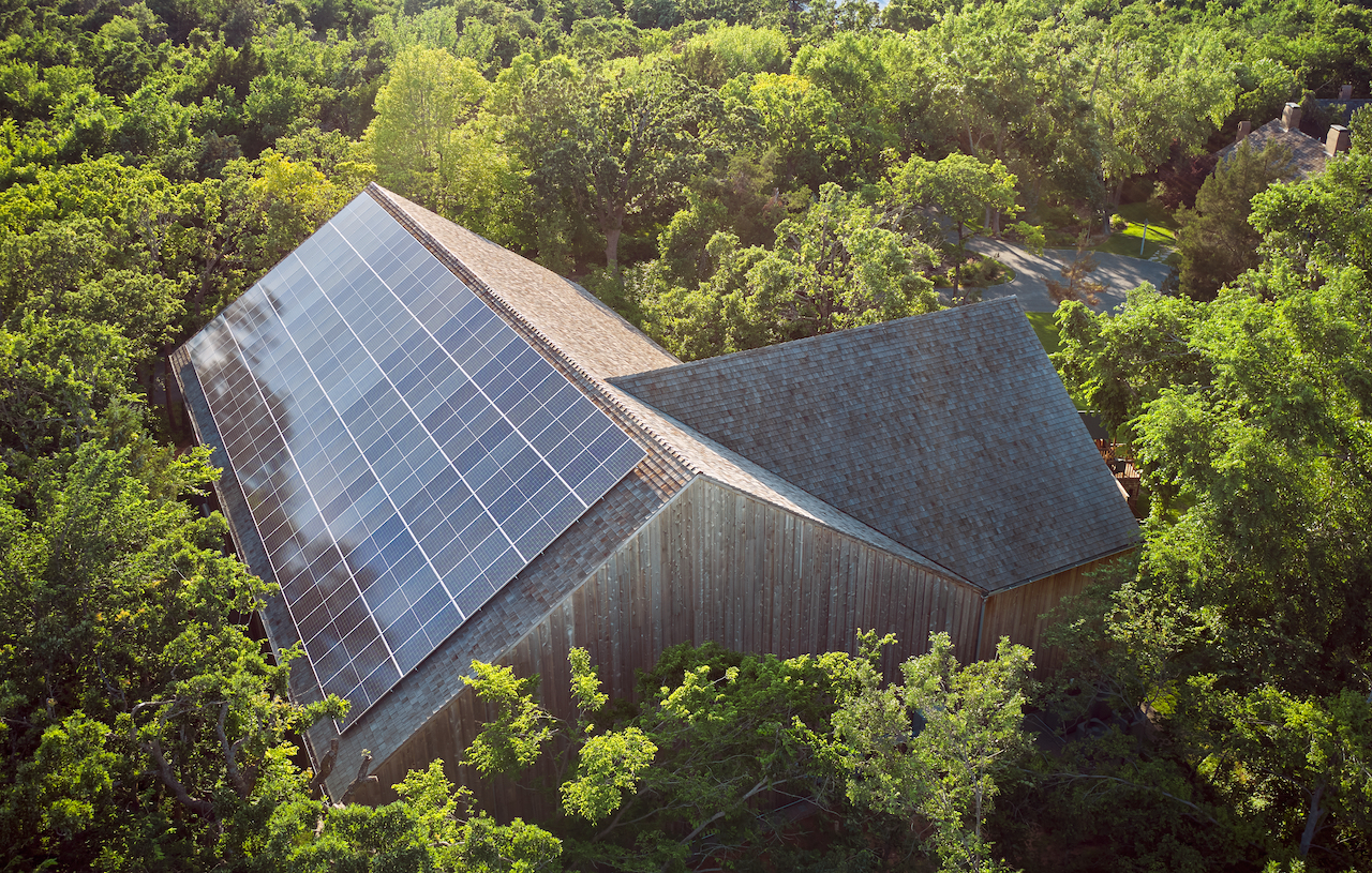 Aerial shot of solar panels on roof