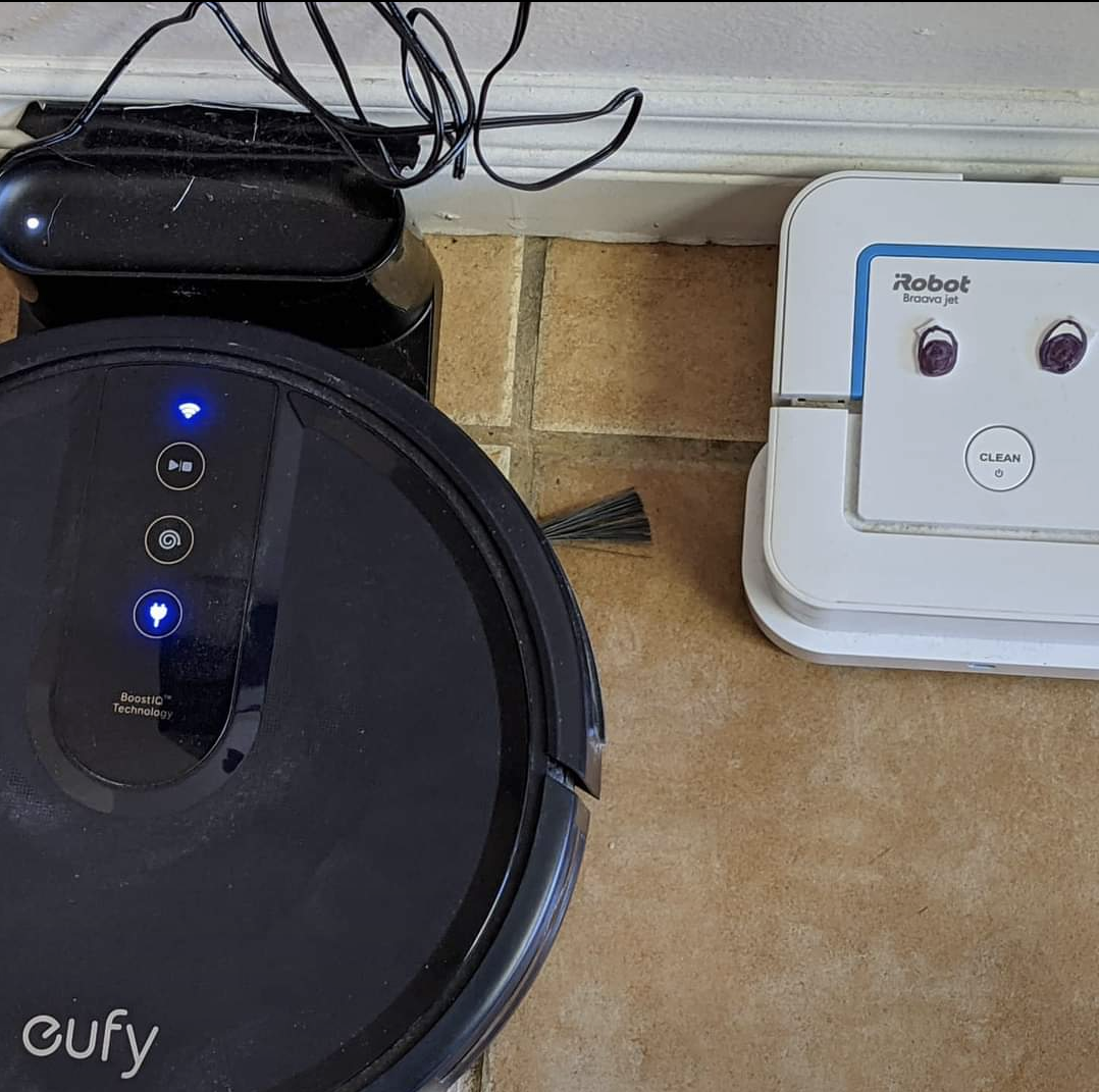 Mary's tech robots are an integral part of her house. She even added eyeballs to one for fun!