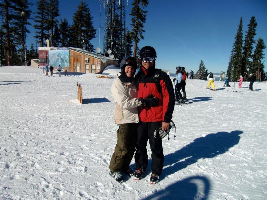 Vicki hitting the slopes to ski with her husband.