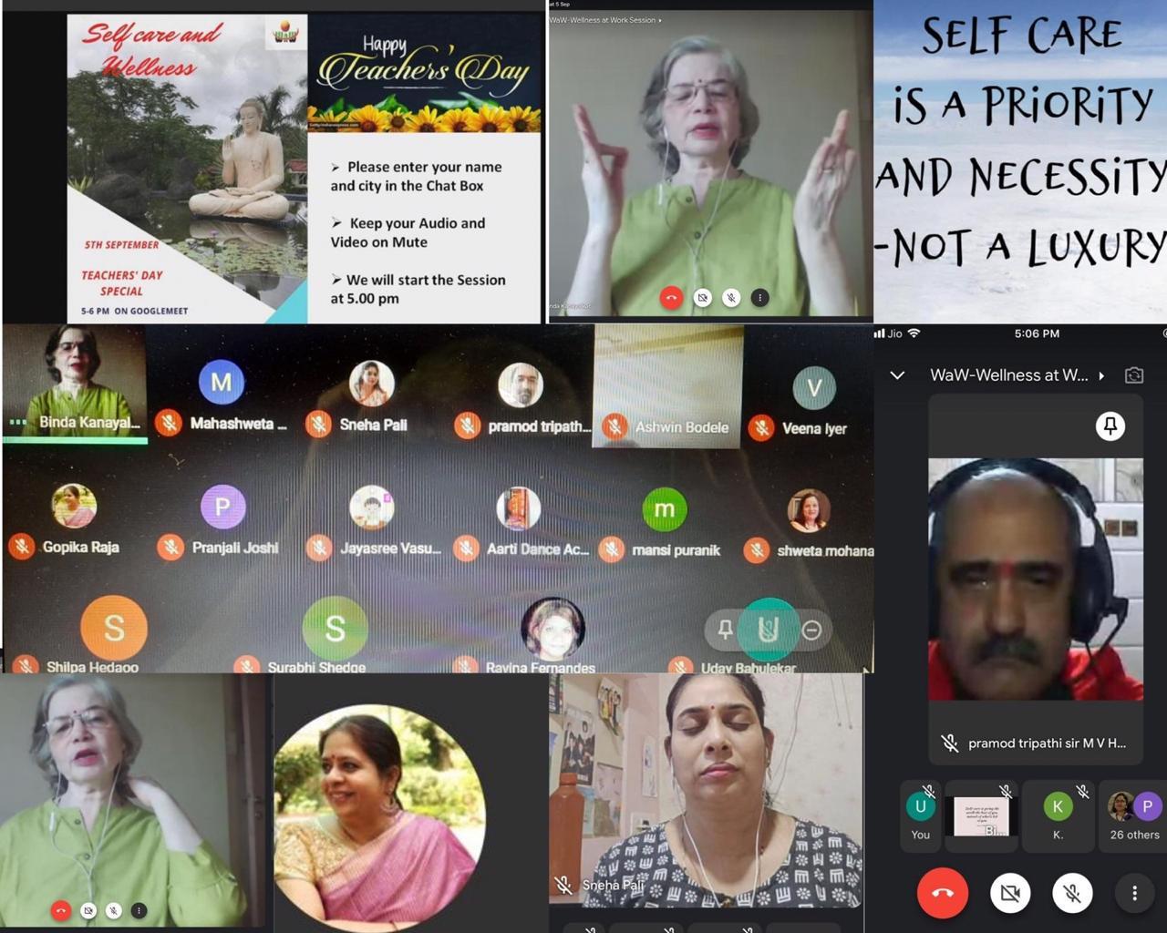 Binda teaching a Selfcare and Wellness virtual class.