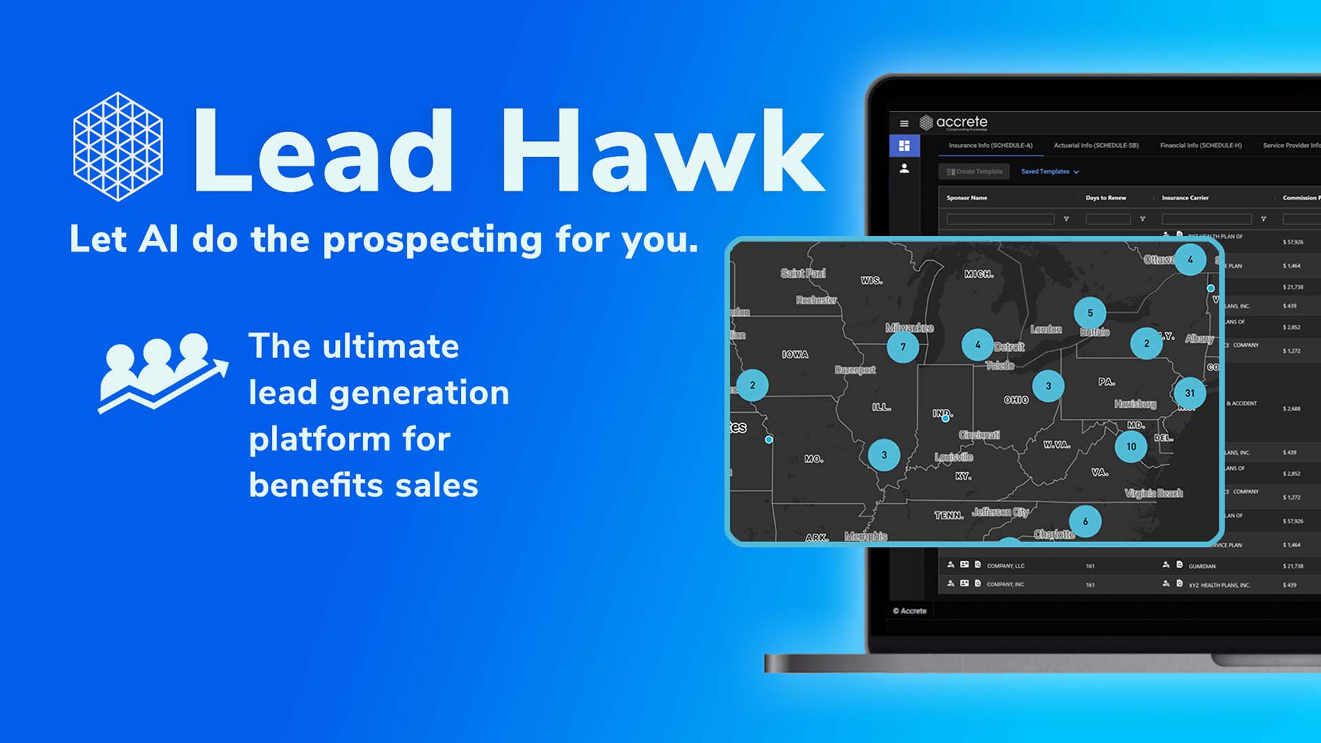 A video thumbnail for Accrete's Lead Hawk. Let AI do the prospecting for you. The ultimate lead generation platform for benefits sales