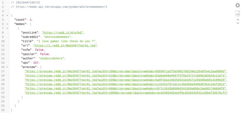JSON response from the Meme API