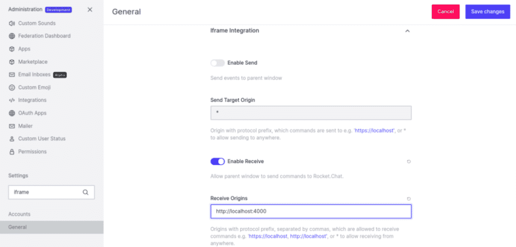 Iframe integration settings to enable receive event commands