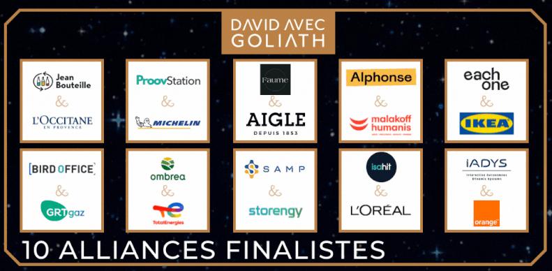 Visuel 10 finalistes du concours David avec Goliath de 2021