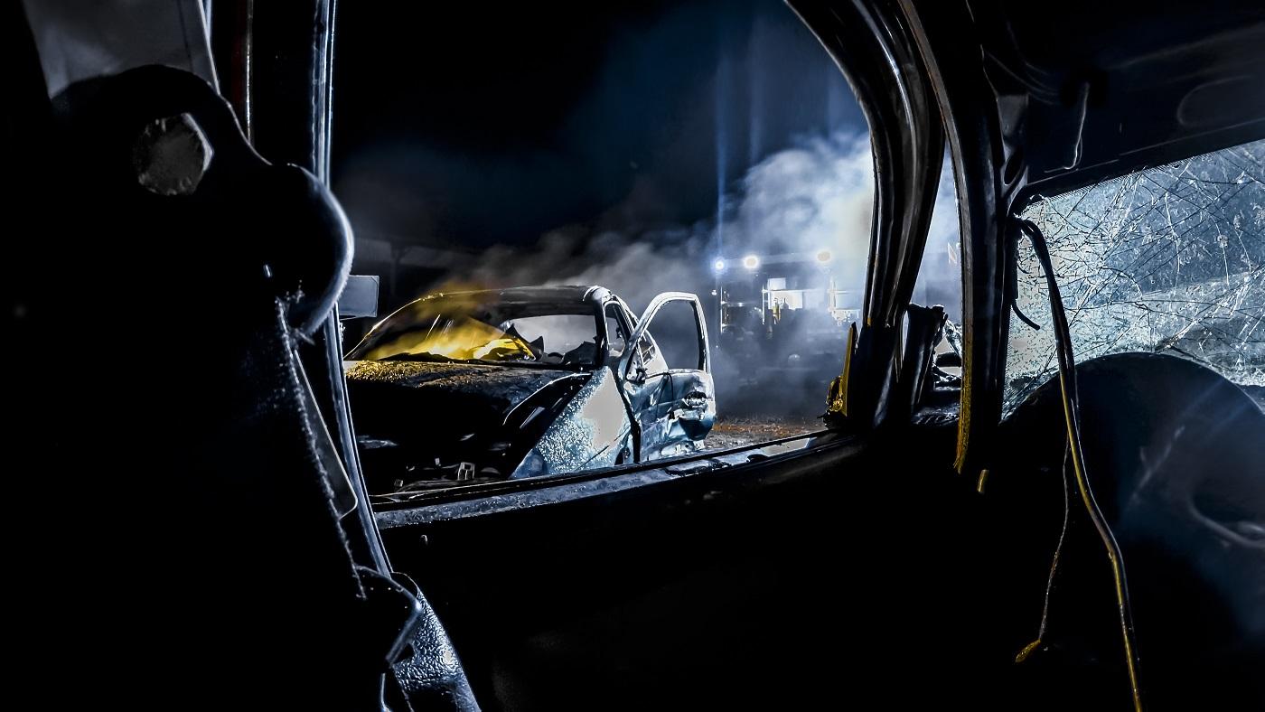 Car crash at night