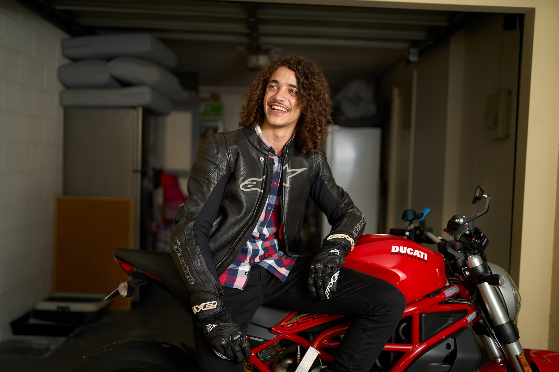 Alex on his motorbike