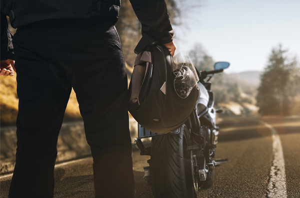 Motorcyclist and motorbike