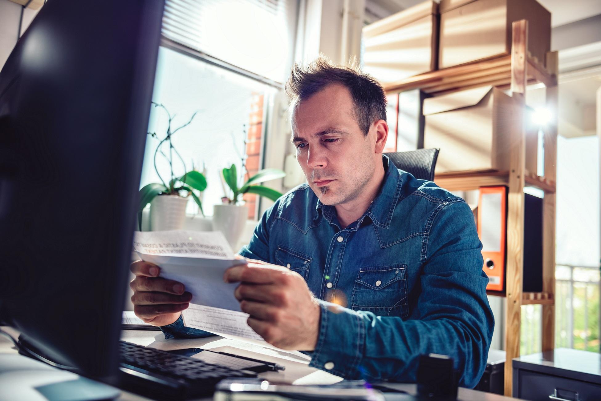 Man filing his taxes