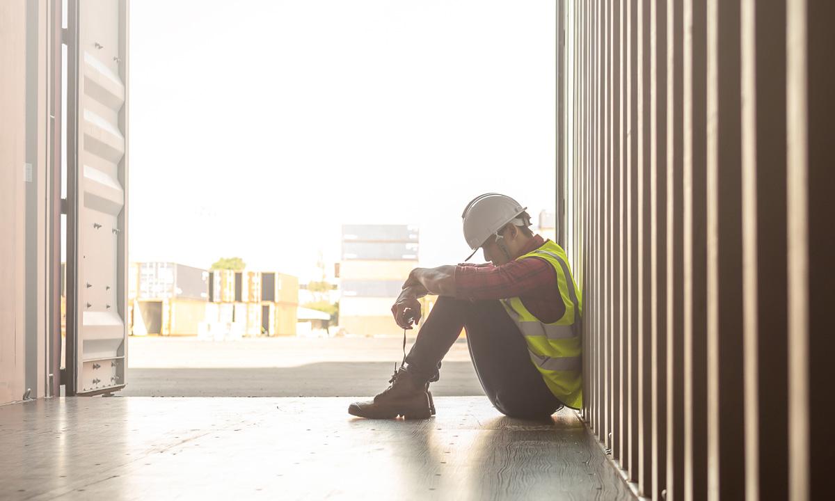 Depressed looking worker