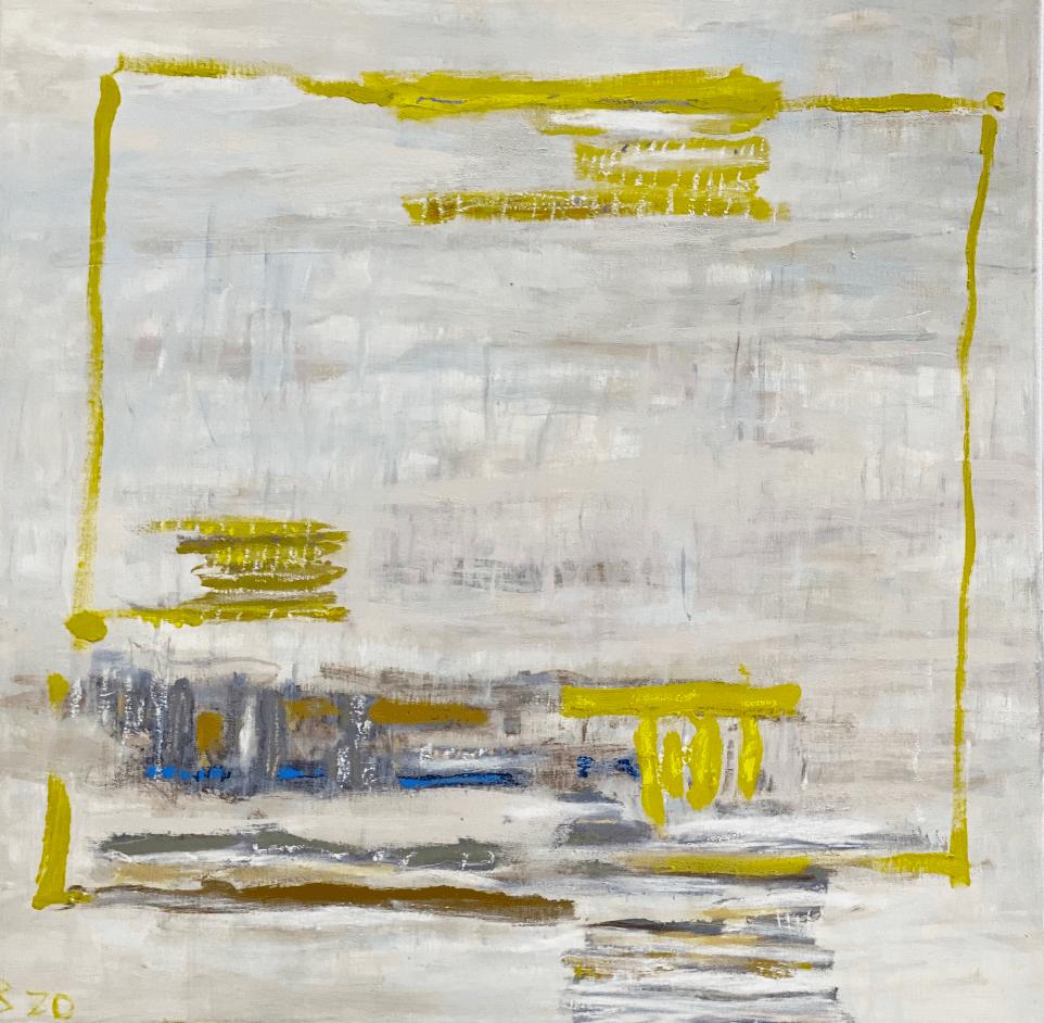 Composition au cadre jaune