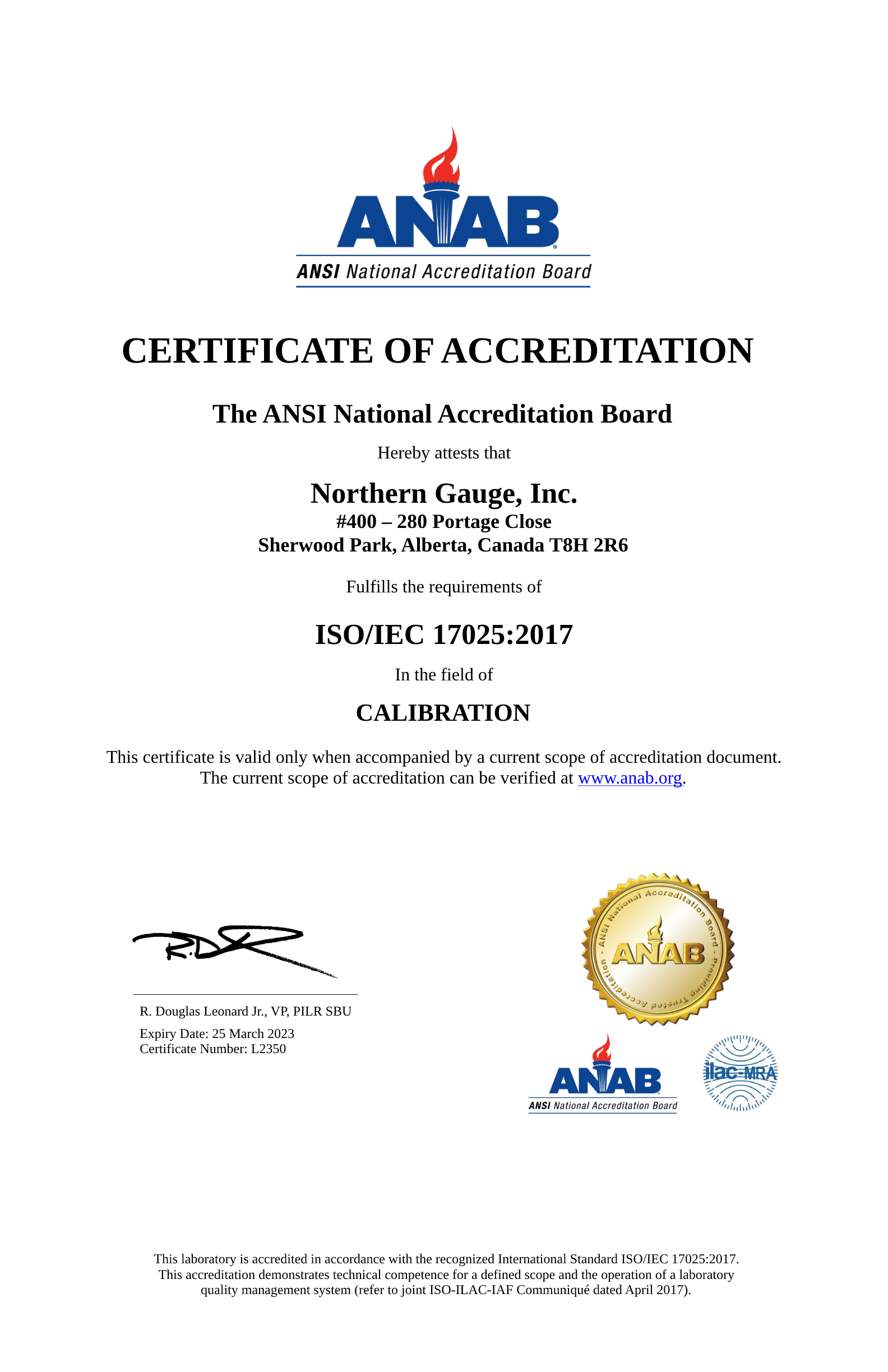 ANAB Certificate of Accreditation page 1