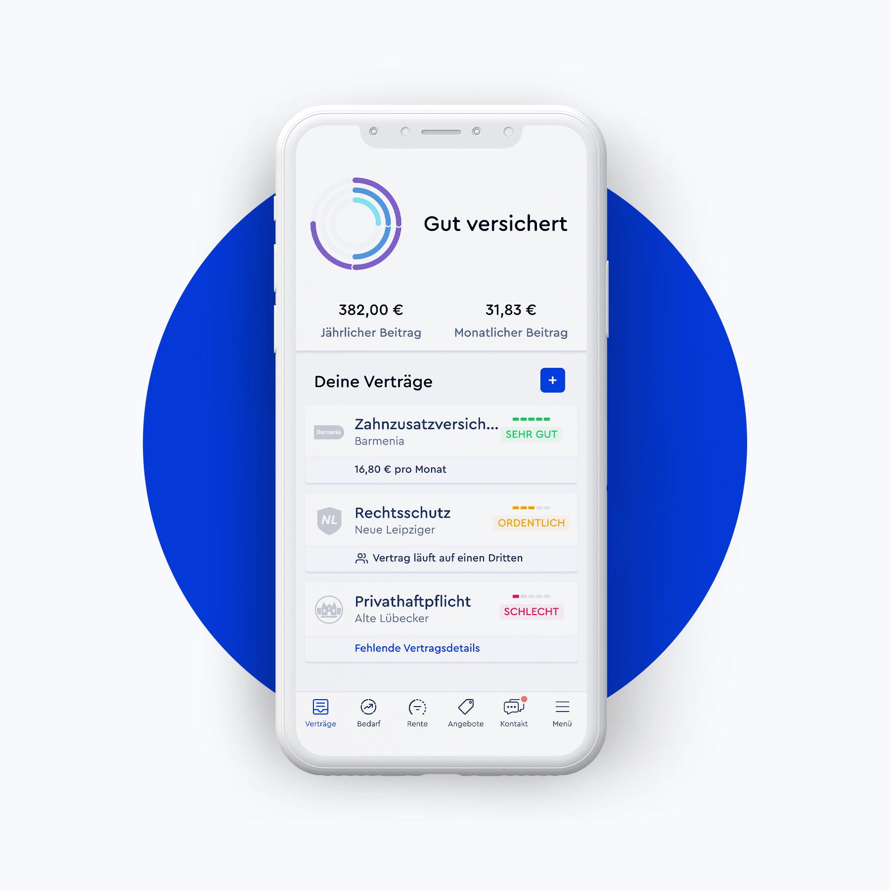 Darstellung der CLARK-App-Übersicht auf weißem Smartphone