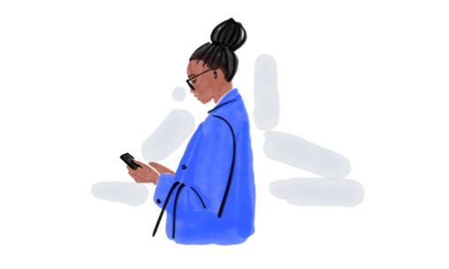 Illustration Frau mit Smartphone und blauer Jacke