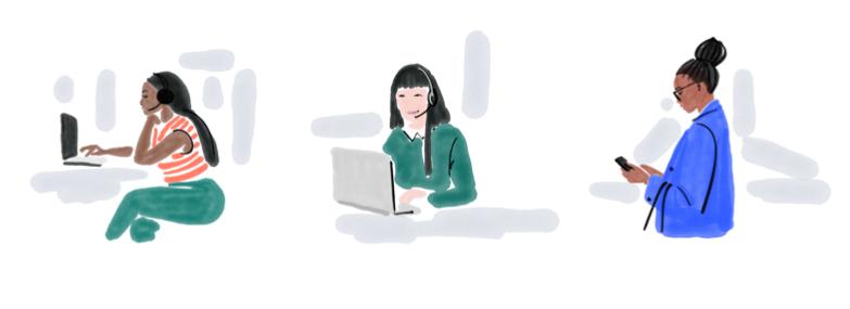 Illustrationen 3 Frauen vor Laptop und am Smartphone beim arbeiten