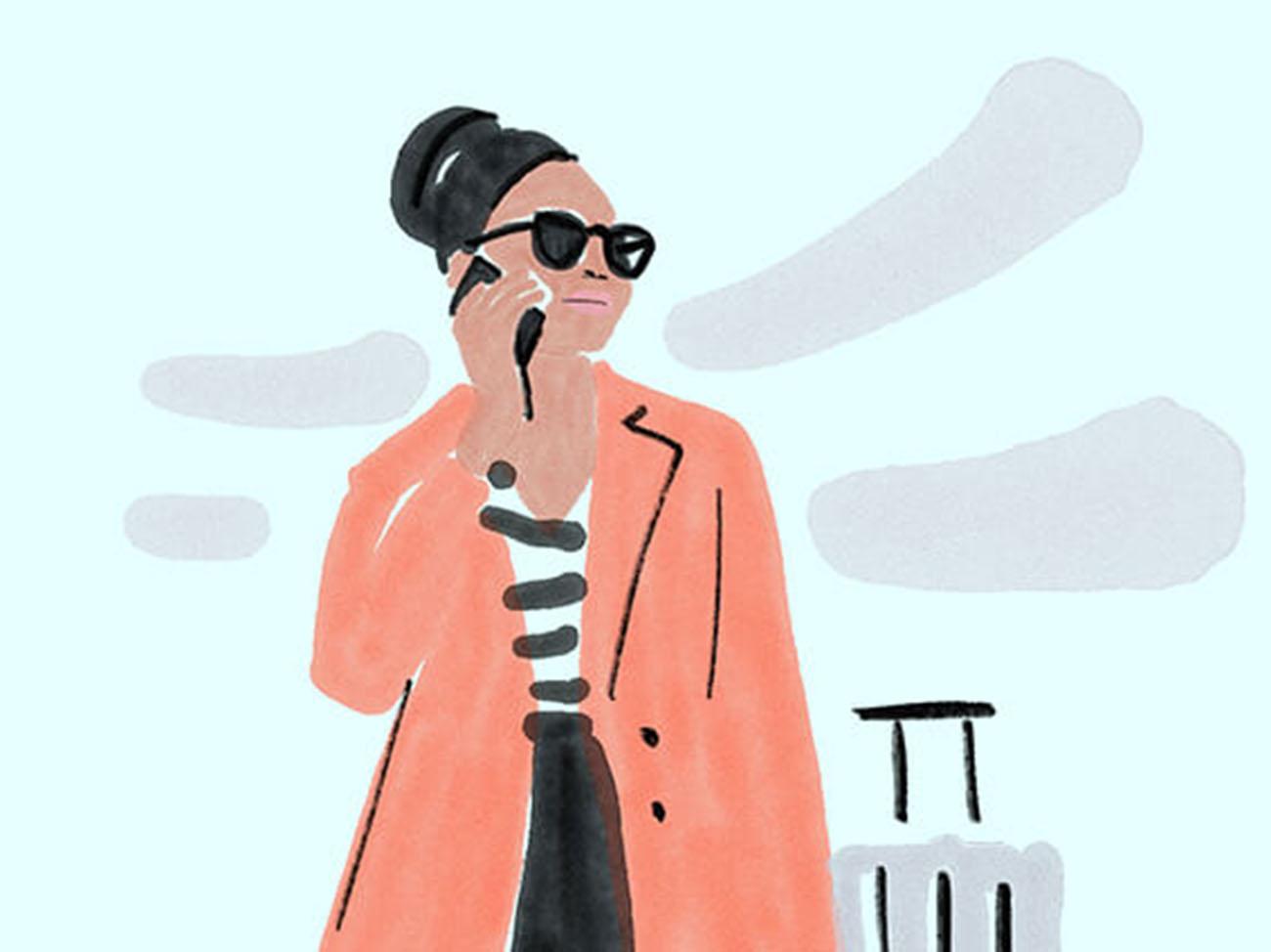 Illustration mit Frau auf Geschaeftsreise