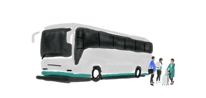 Illustration von drei Geschäftsreisenden mit Bus