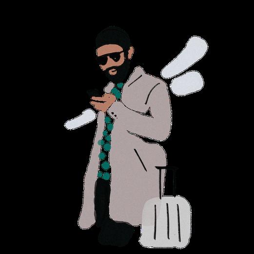 Illustration Mann in hellem Mantel mit Smartphone und Rollkoffer
