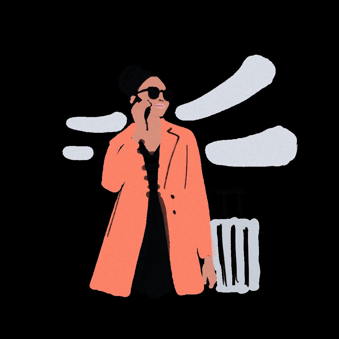 Frau mit rotem Mantel auf Geschäftsreise mit Koffer, Sonnenbrille und Smartphone
