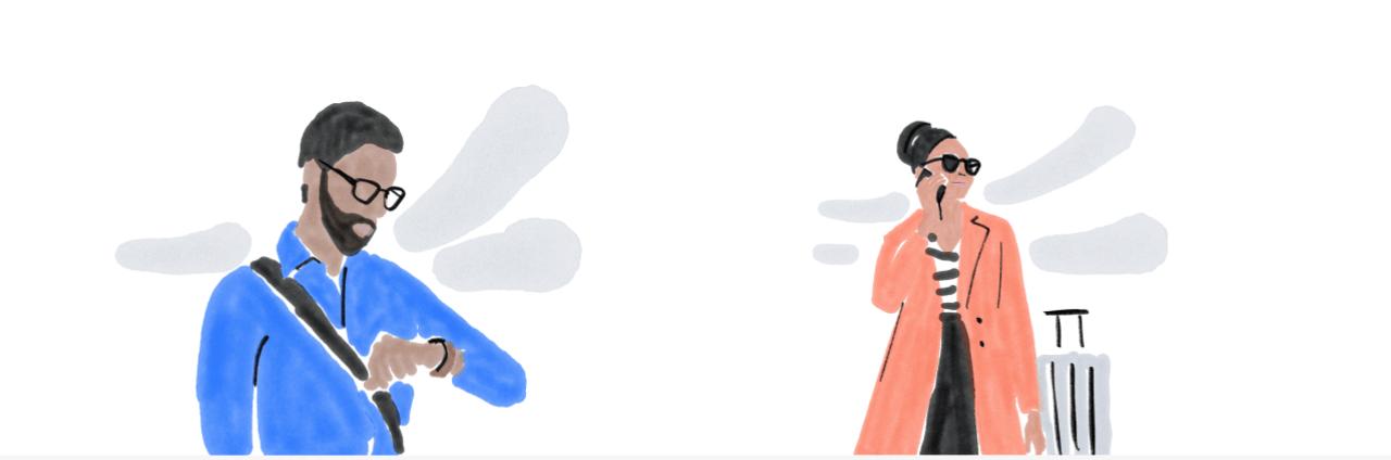 Illustration mit Frau und Mann unterwegs auf Dienstreise