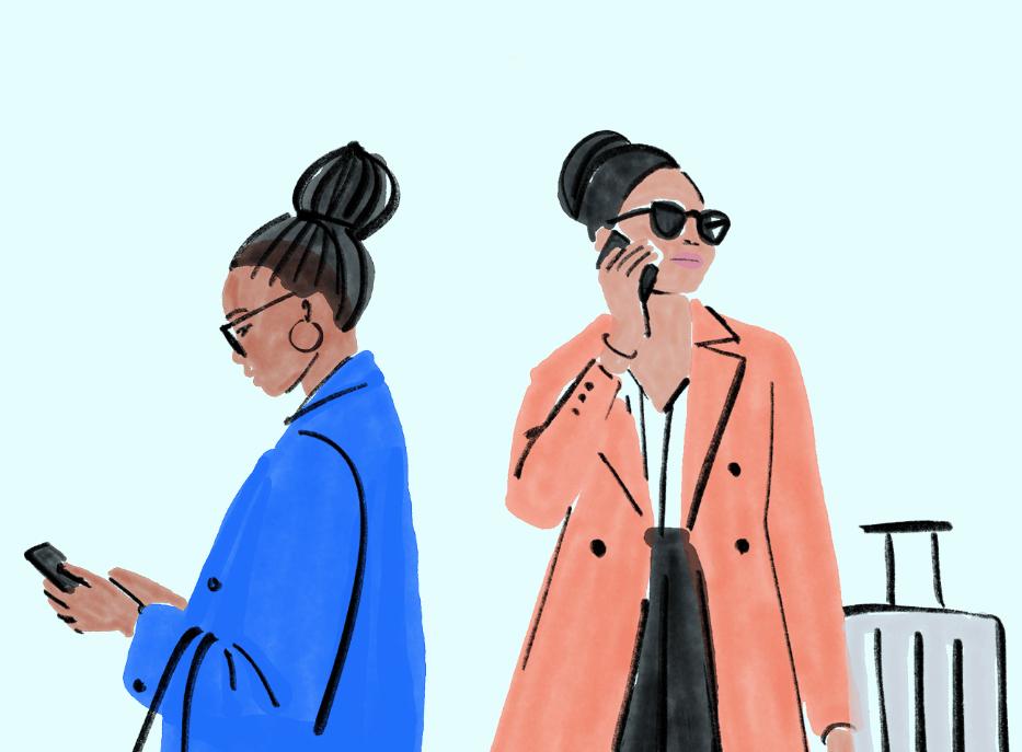 Illustration zwei Frauen am Handy mit Koffer