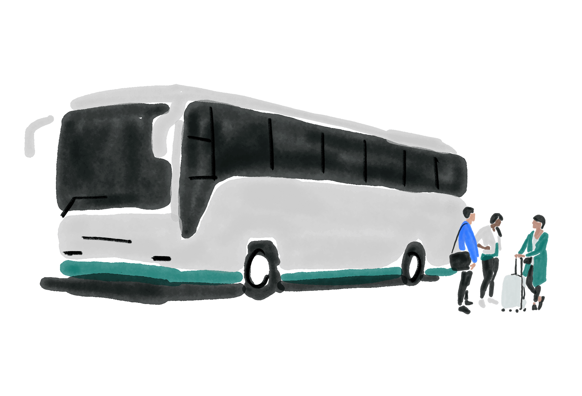 An illustration of a bus and group of people