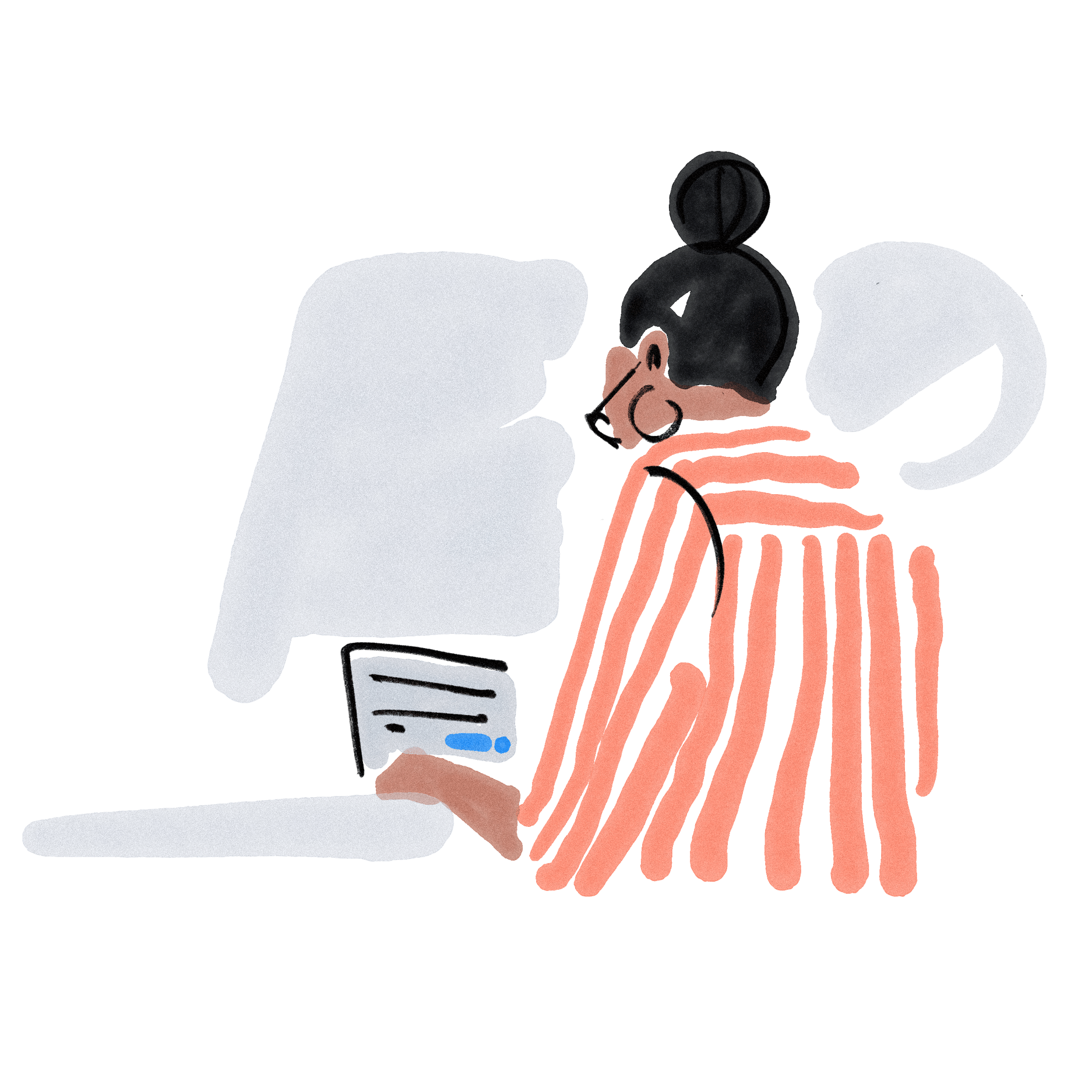 Illustration Frau sitzt am Laptop
