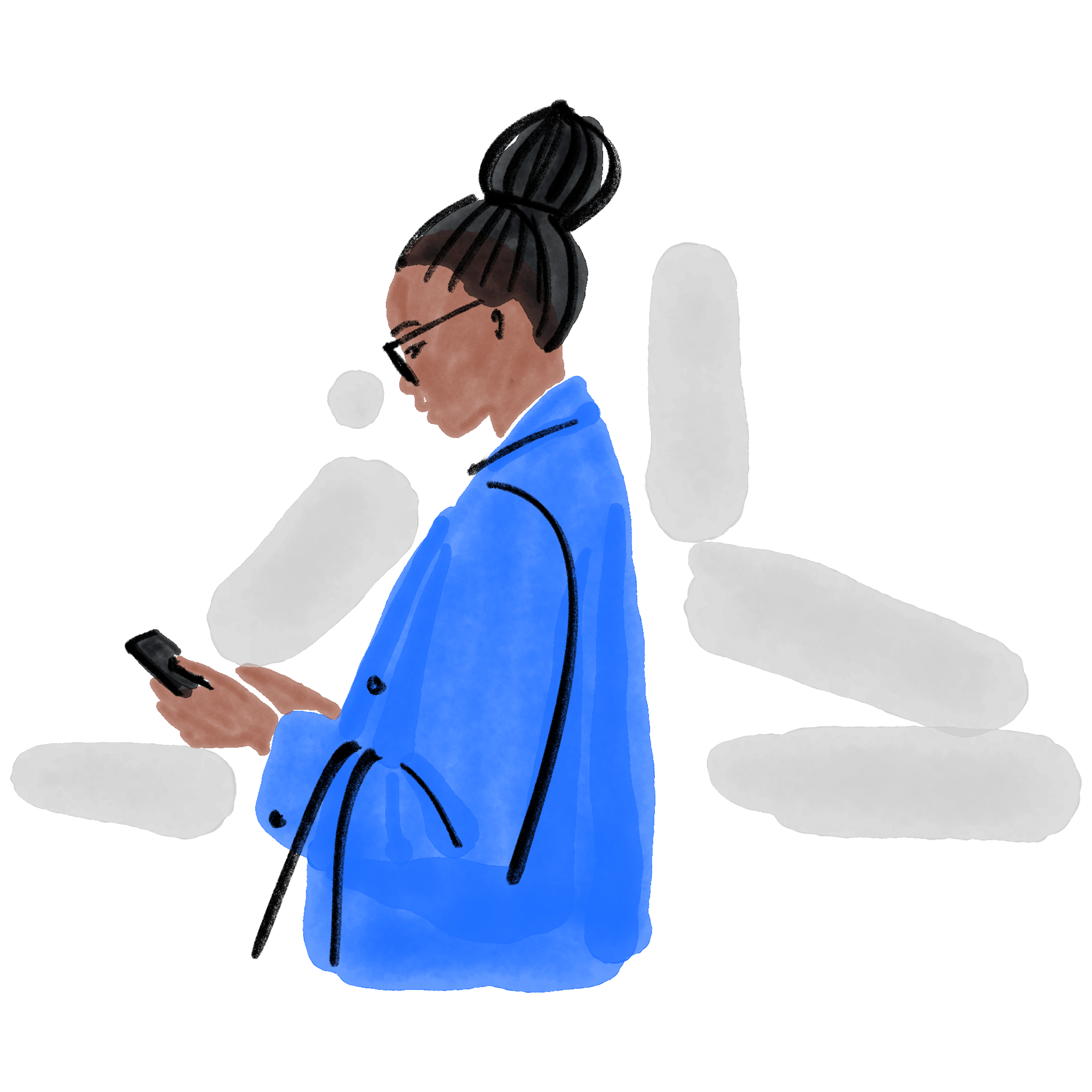 Illustration of a woman holding and interacting with a phone