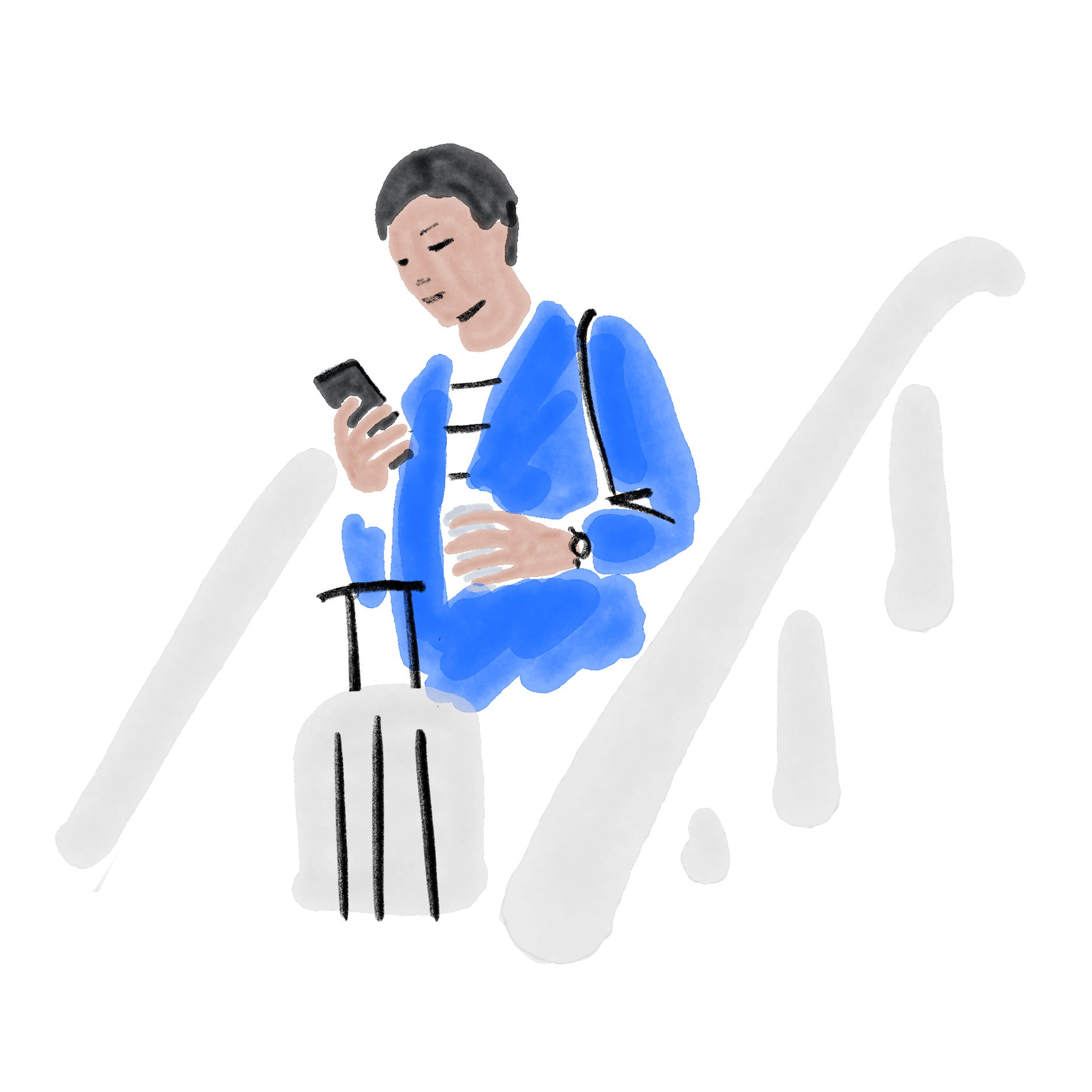 Illustration of a man holding a travel suitcase coming down the stairs