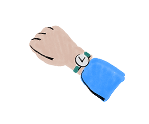 Close-up illustration of an arm with a watch on the wrist
